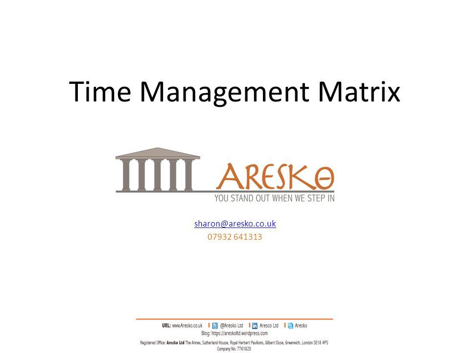 Time Management Matrix sharon@aresko.co.uk 07932 641313