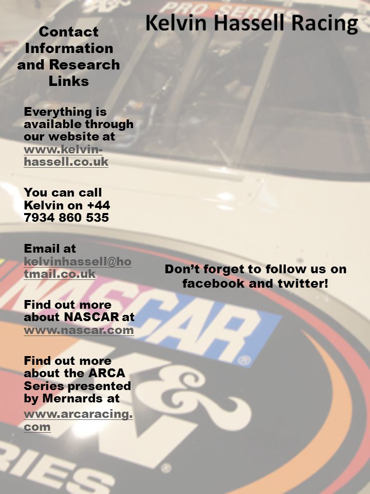 Contact Information and Research Links Don't forget to follow us on facebook and twitter.