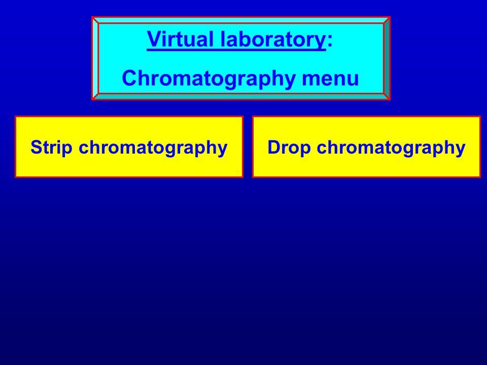 Strip chromatographyDrop chromatography Virtual laboratory: Chromatography menu