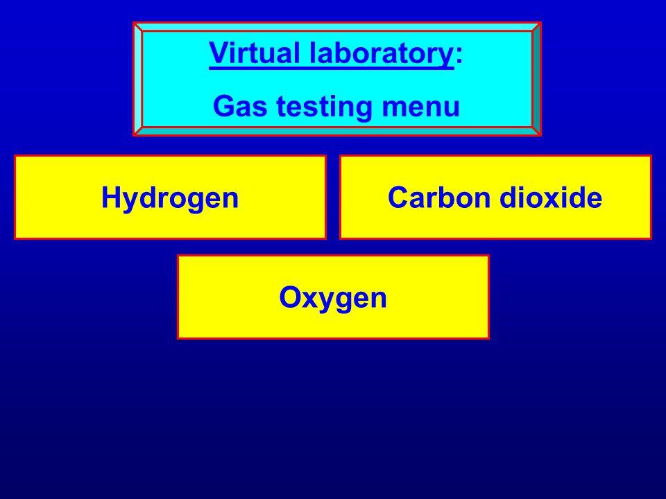 HydrogenCarbon dioxide Oxygen Virtual laboratory: Gas testing menu