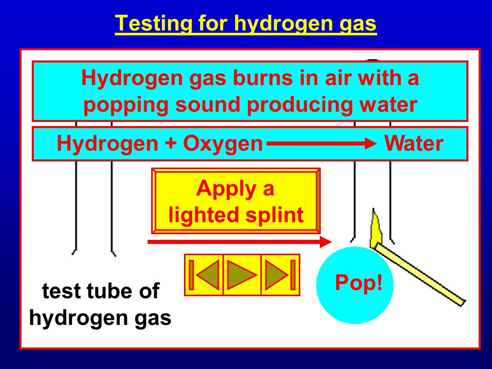 Testing for hydrogen gas test tube of hydrogen gas Hydrogen gas burns in air with a popping sound producing water Pop.