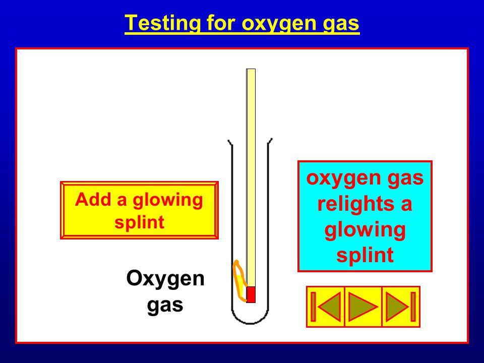 Testing for oxygen gas Oxygen gas oxygen gas relights a glowing splint Add a glowing splint