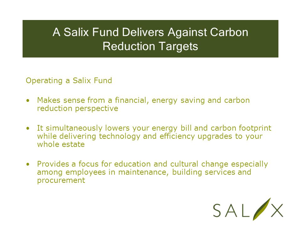 A Salix Fund Delivers Against Carbon Reduction Targets Operating a Salix Fund Makes sense from a financial, energy saving and carbon reduction perspective It simultaneously lowers your energy bill and carbon footprint while delivering technology and efficiency upgrades to your whole estate Provides a focus for education and cultural change especially among employees in maintenance, building services and procurement