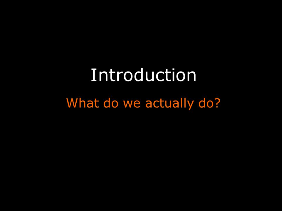 Introduction What do we actually do