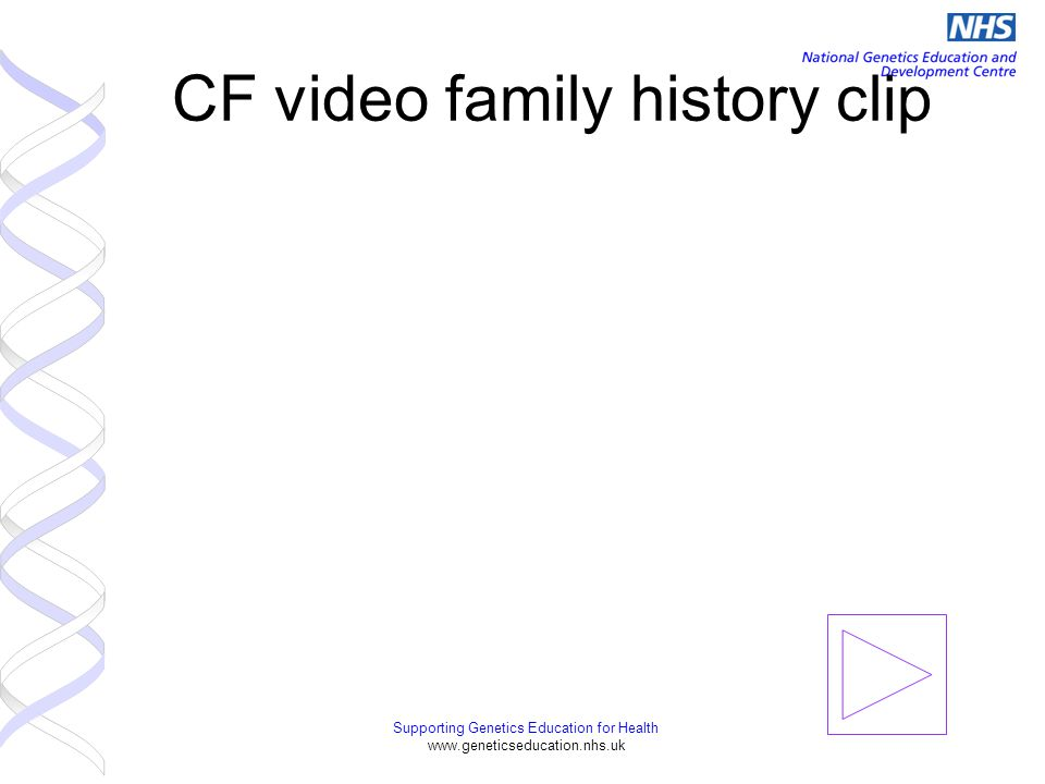 Supporting Genetics Education for Health www.geneticseducation.nhs.uk CF video family history clip