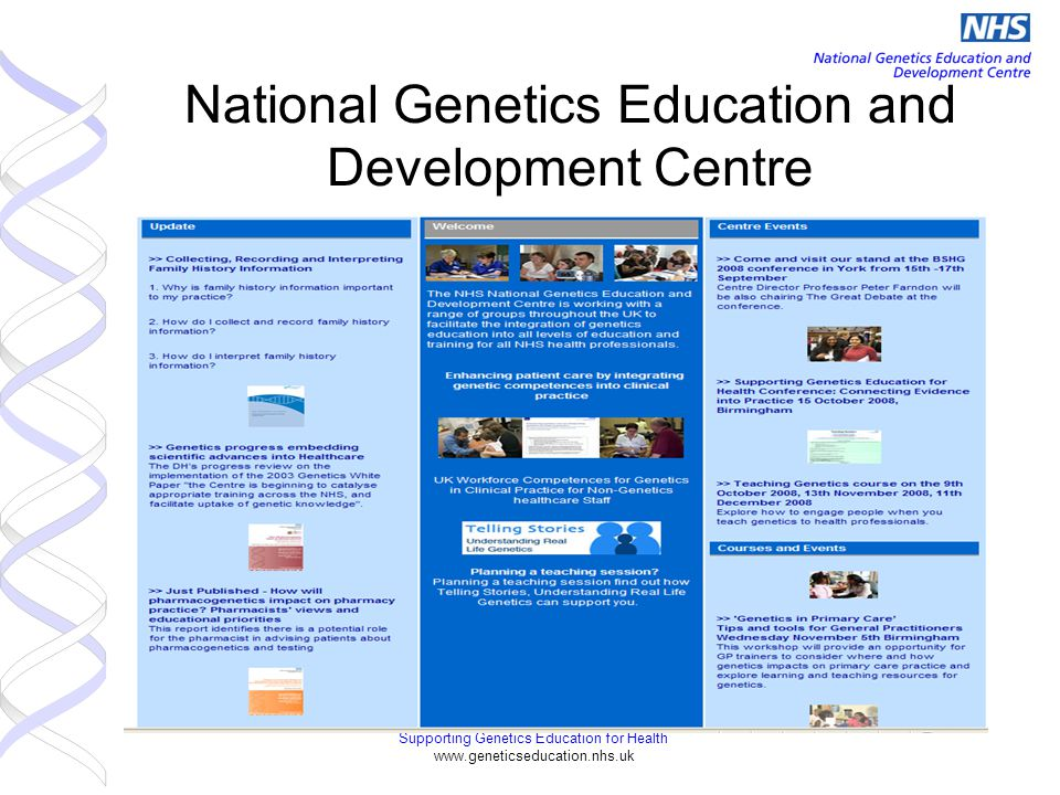 Supporting Genetics Education for Health www.geneticseducation.nhs.uk National Genetics Education and Development Centre