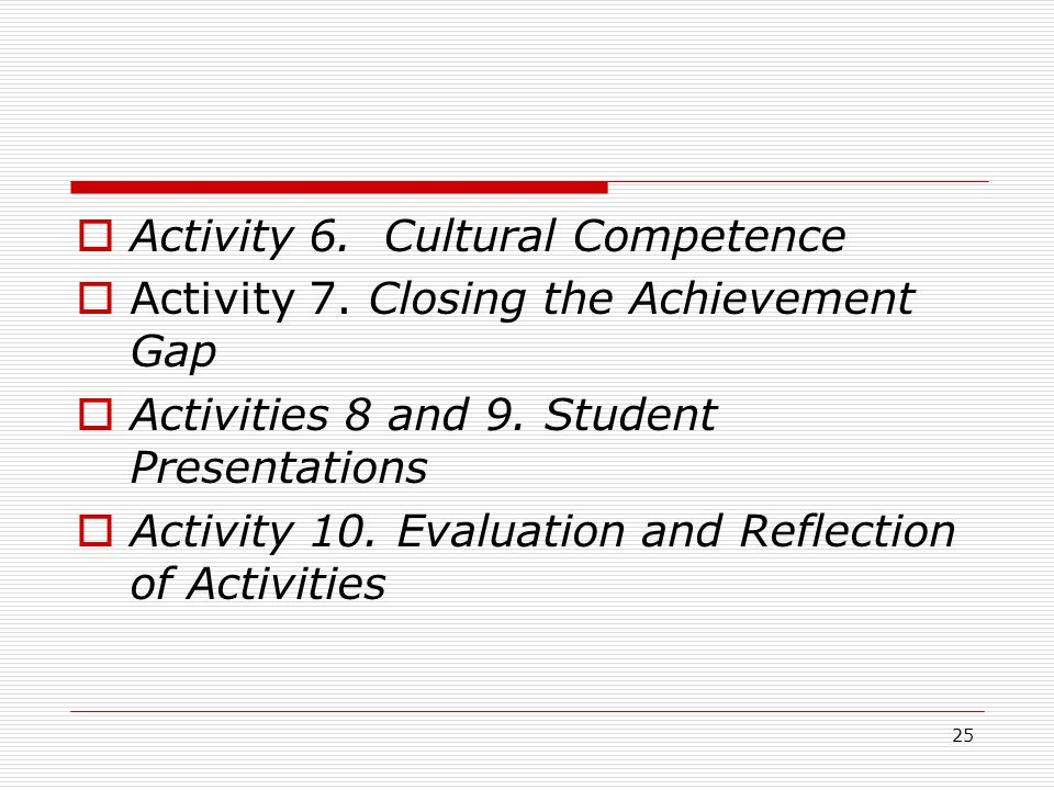 25  Activity 6. Cultural Competence  Activity 7.
