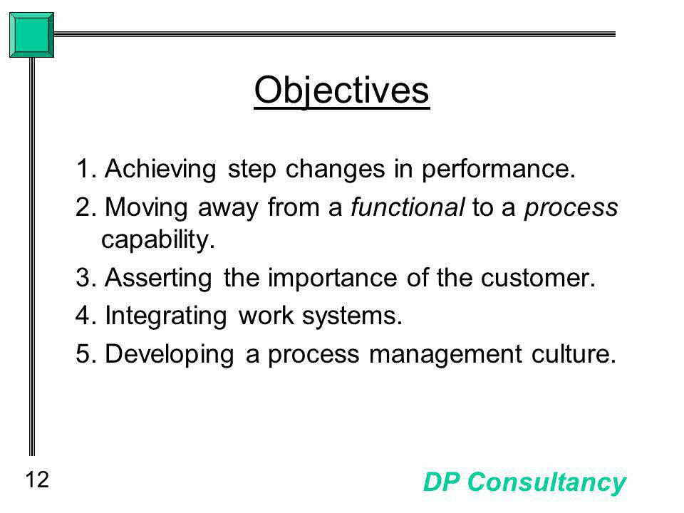 12 DP Consultancy Objectives 1. Achieving step changes in performance.