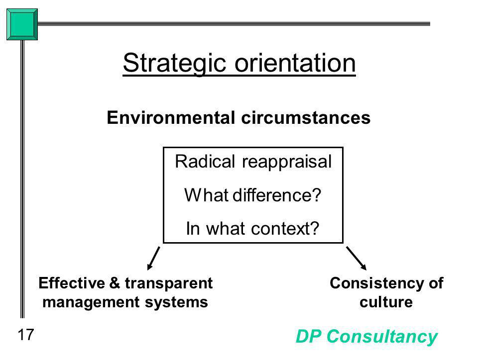 17 DP Consultancy Strategic orientation Environmental circumstances Radical reappraisal What difference.