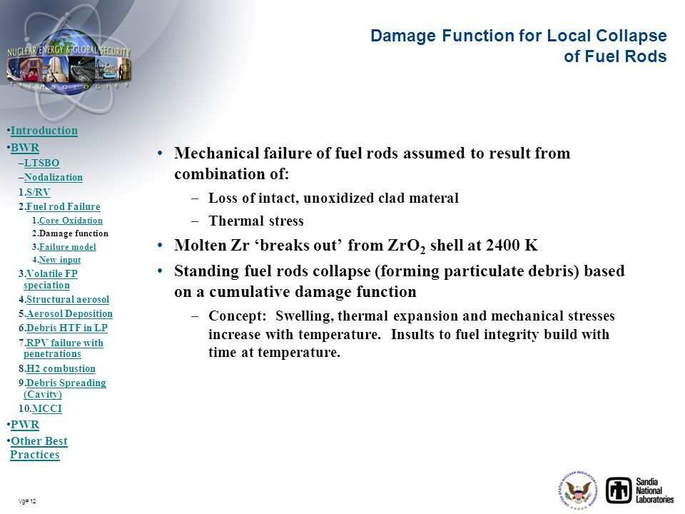 Vg# 12 Damage Function for Local Collapse of Fuel Rods Mechanical failure of fuel rods assumed to result from combination of: –Loss of intact, unoxidi
