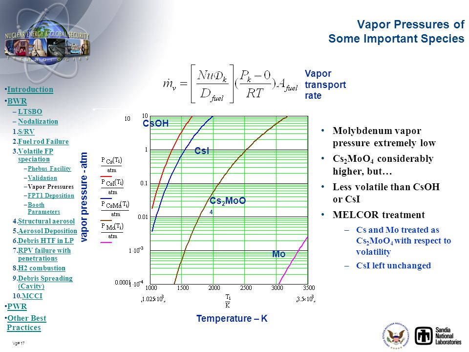 Vg# 17 Vapor Pressures of Some Important Species Molybdenum vapor pressure extremely low Cs 2 MoO 4 considerably higher, but… Less volatile than CsOH