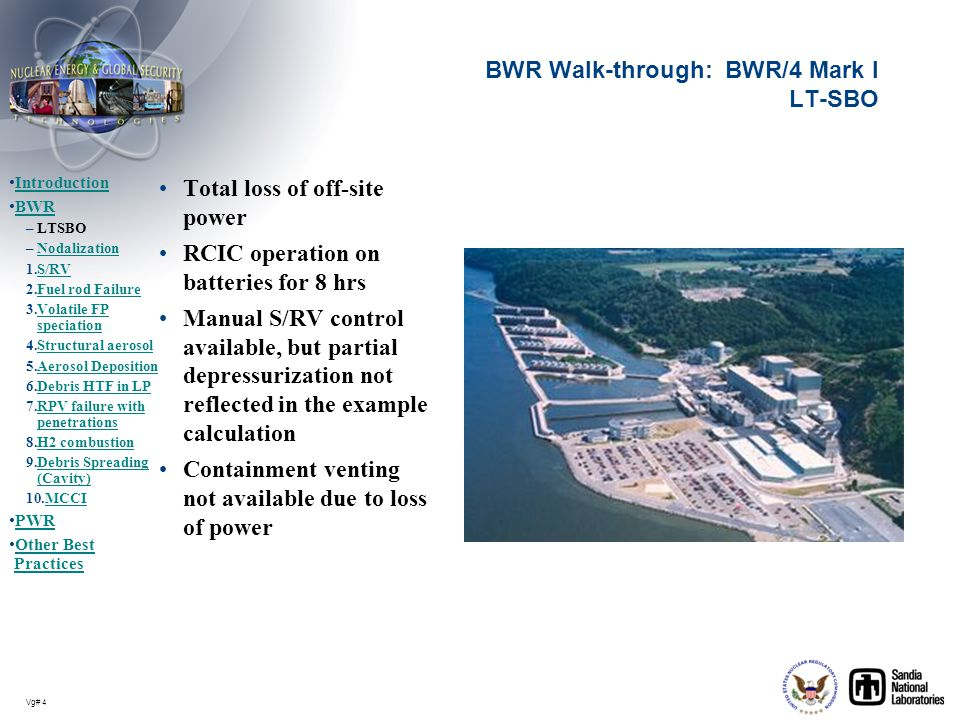 Vg# 4 BWR Walk-through: BWR/4 Mark I LT-SBO Total loss of off-site power RCIC operation on batteries for 8 hrs Manual S/RV control available, but part