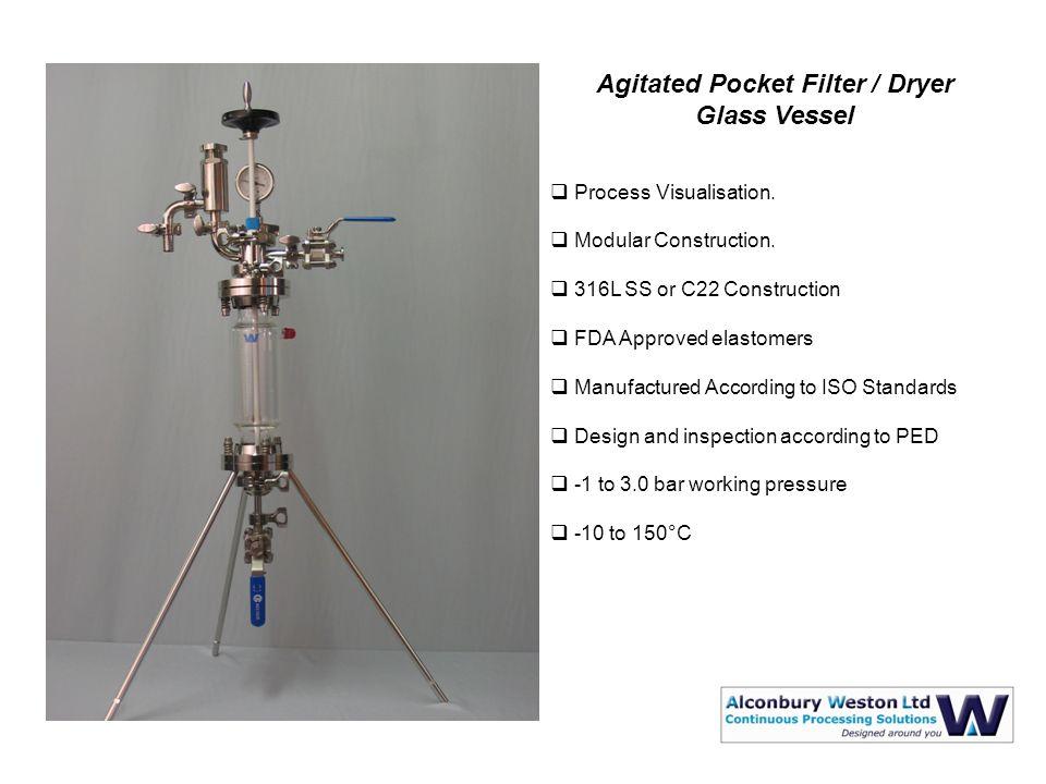 Agitated Pocket Filter / Dryer Glass Vessel  Process Visualisation.