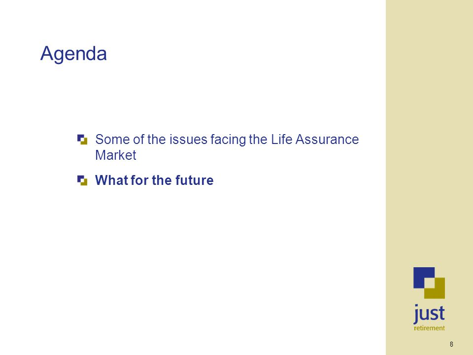 8 Agenda Some of the issues facing the Life Assurance Market What for the future