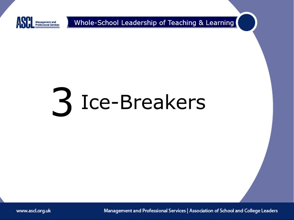 Raising Your Game Whole-School Leadership of Teaching & Learning Ice-Breakers 3