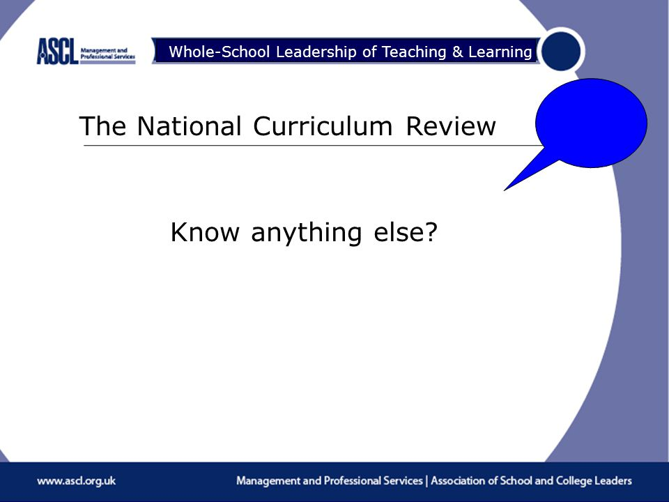 Raising Your Game Whole-School Leadership of Teaching & Learning The National Curriculum Review Know anything else