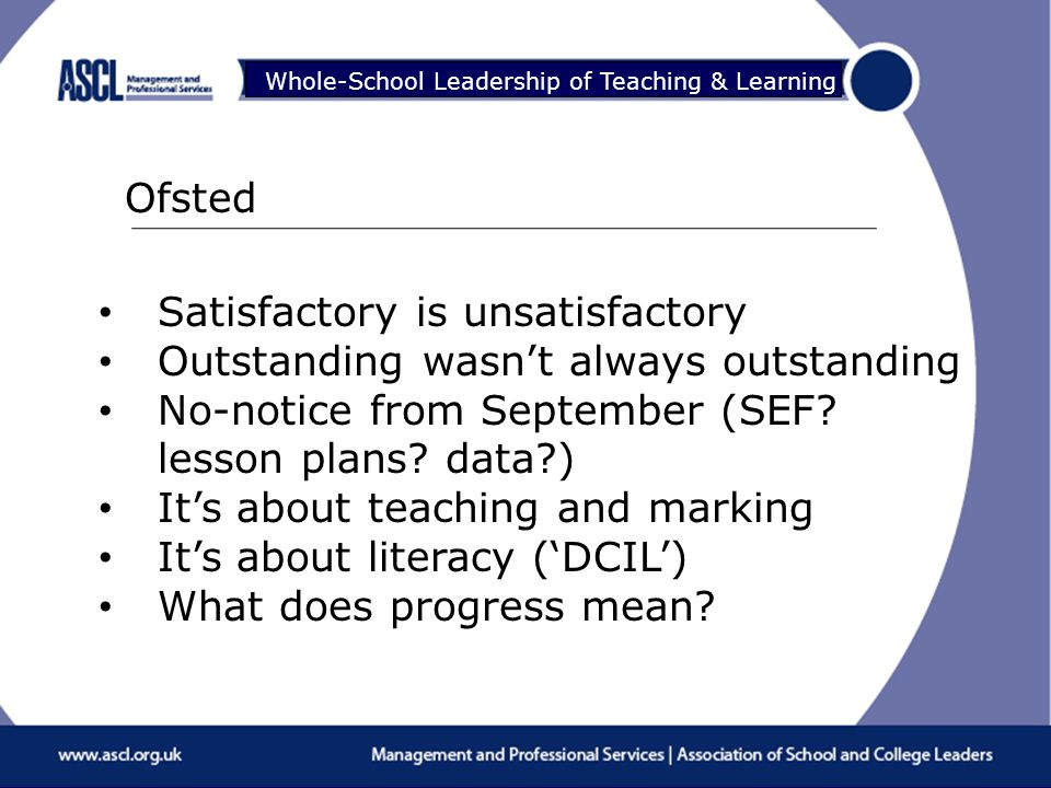 Raising Your Game Whole-School Leadership of Teaching & Learning Ofsted Satisfactory is unsatisfactory Outstanding wasn't always outstanding No-notice from September (SEF.