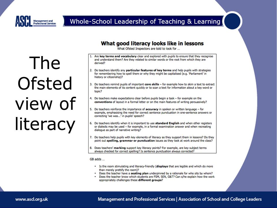 Raising Your Game Whole-School Leadership of Teaching & Learning The Ofsted view of literacy
