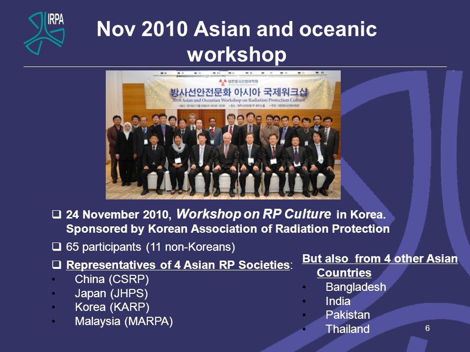 Nov 2010 Asian and oceanic workshop 6  24 November 2010, Workshop on RP Culture in Korea. Sponsored by Korean Association of Radiation Protection  6