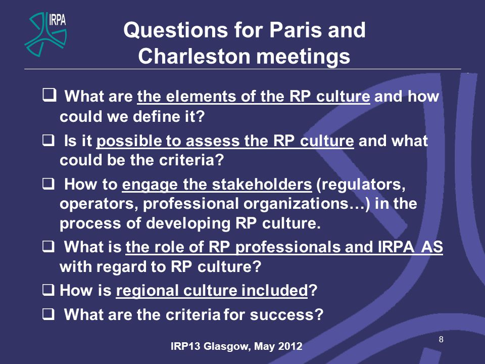 Questions for Paris and Charleston meetings  What are the elements of the RP culture and how could we define it.