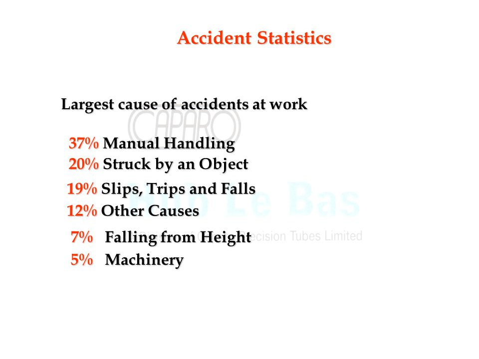 Accident Statistics Largest cause of accidents at work 37% Manual Handling 20% Struck by an Object 19% Slips, Trips and Falls 12% Other Causes 7% Falling from Height 5% Machinery