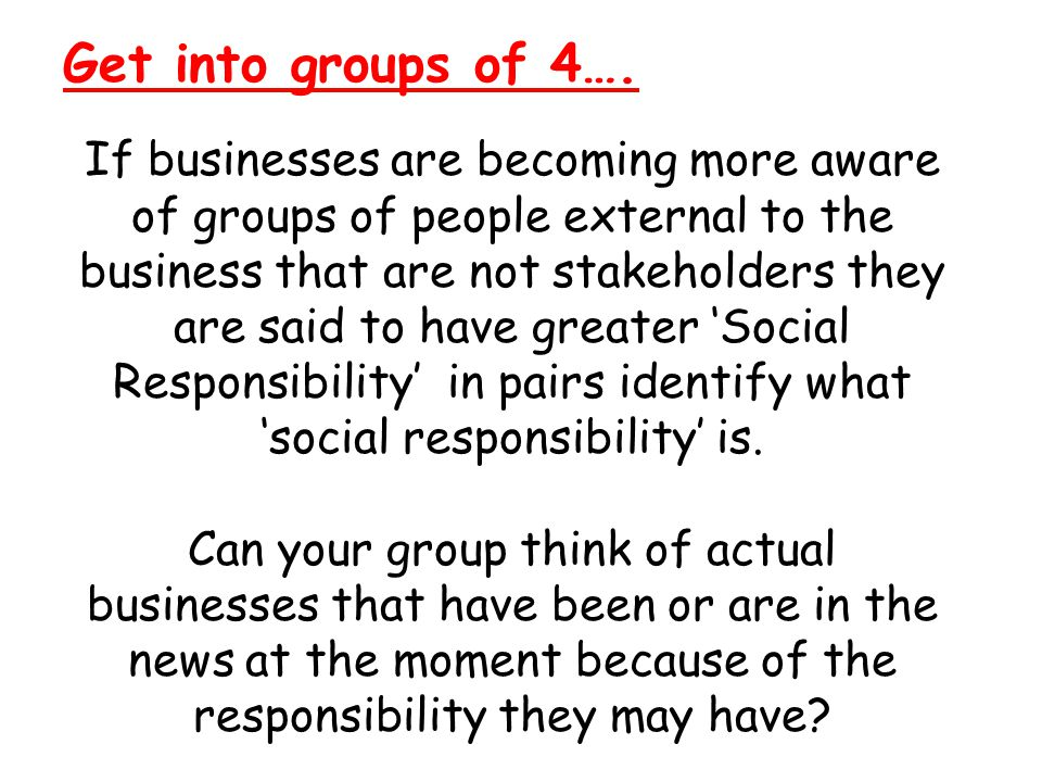 Social Responsibility The impact of businesses upon society.