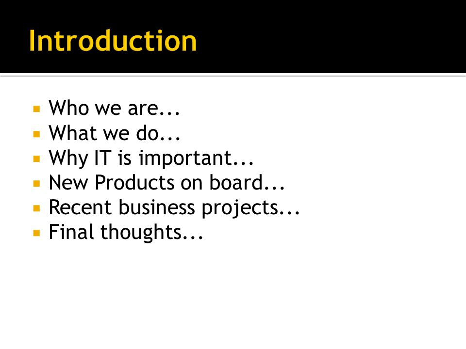  Who we are...  What we do...  Why IT is important...  New Products on board...  Recent business projects...  Final thoughts...