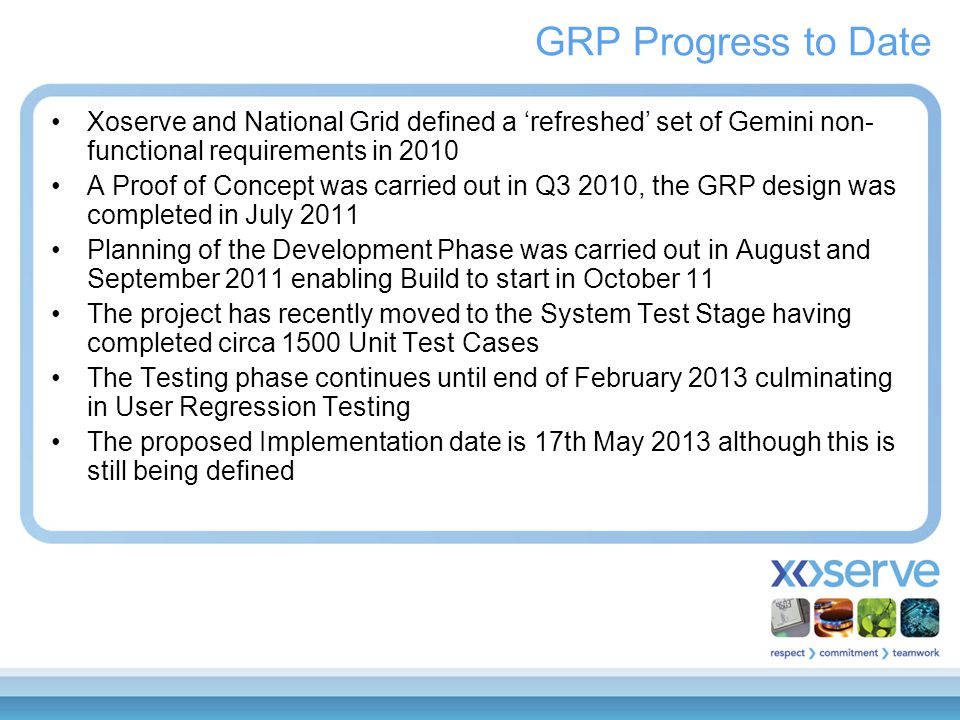 GRP Progress to Date Xoserve and National Grid defined a 'refreshed' set of Gemini non- functional requirements in 2010 A Proof of Concept was carried out in Q3 2010, the GRP design was completed in July 2011 Planning of the Development Phase was carried out in August and September 2011 enabling Build to start in October 11 The project has recently moved to the System Test Stage having completed circa 1500 Unit Test Cases The Testing phase continues until end of February 2013 culminating in User Regression Testing The proposed Implementation date is 17th May 2013 although this is still being defined
