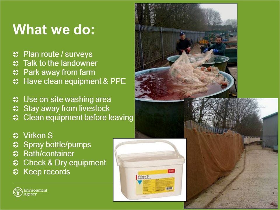 What we do: Plan route / surveys Talk to the landowner Park away from farm Have clean equipment & PPE Use on-site washing area Stay away from livestock Clean equipment before leaving Virkon S Spray bottle/pumps Bath/container Check & Dry equipment Keep records