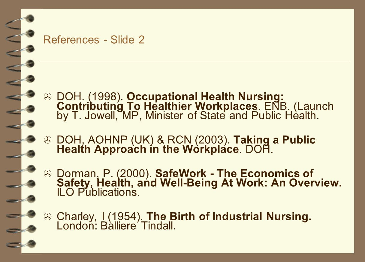 References - Slide 2  DOH. (1998).