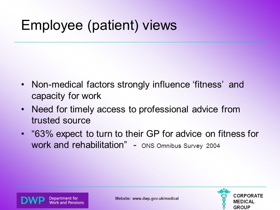 CORPORATE MEDICAL GROUP Website: www.dwp.gov.uk/medical Employee (patient) views Non-medical factors strongly influence 'fitness' and capacity for wor