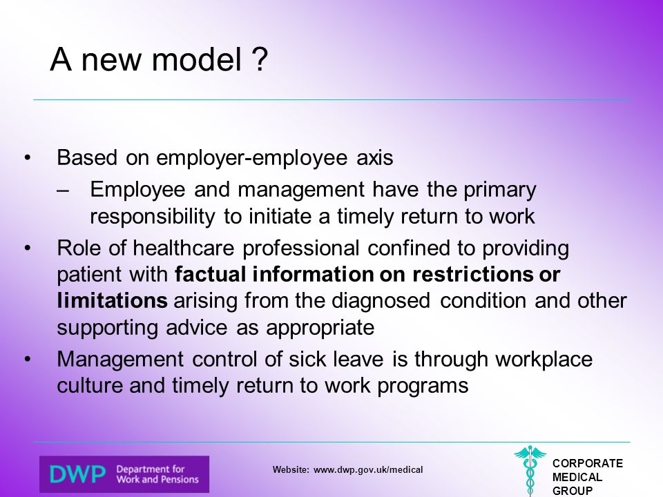 CORPORATE MEDICAL GROUP Website: www.dwp.gov.uk/medical A new model ? Based on employer-employee axis –Employee and management have the primary respon
