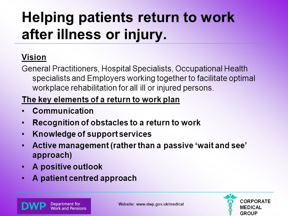 CORPORATE MEDICAL GROUP Website: www.dwp.gov.uk/medical Helping patients return to work after illness or injury. Vision General Practitioners, Hospita