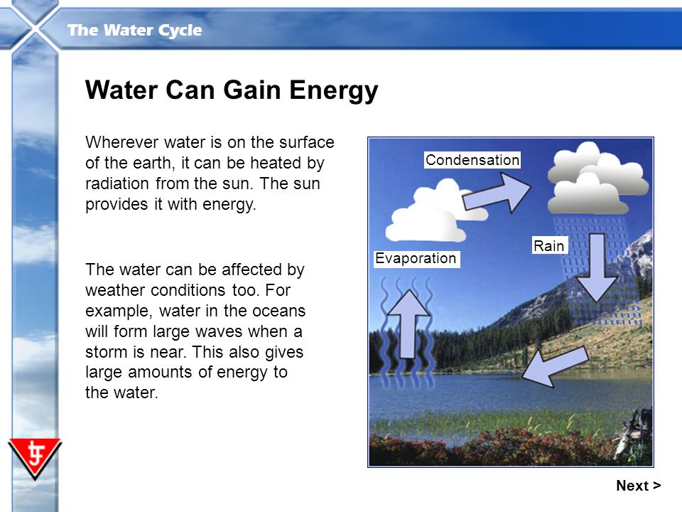 The Water Cycle Next > Water Can Gain Energy Wherever water is on the surface of the earth, it can be heated by radiation from the sun. The sun provid
