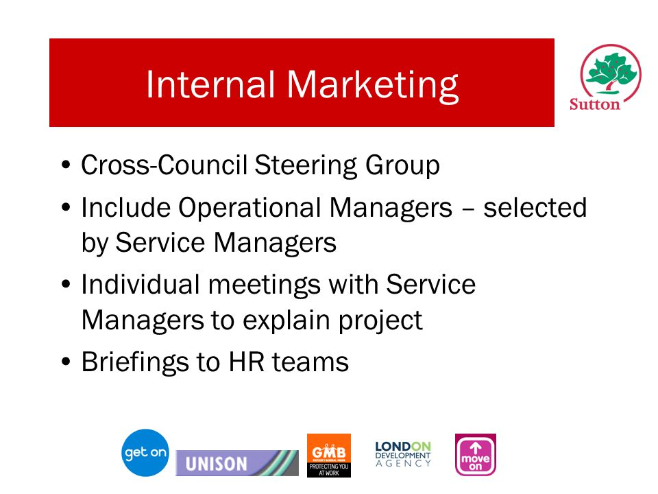 Internal Marketing Cross-Council Steering Group Include Operational Managers – selected by Service Managers Individual meetings with Service Managers to explain project Briefings to HR teams