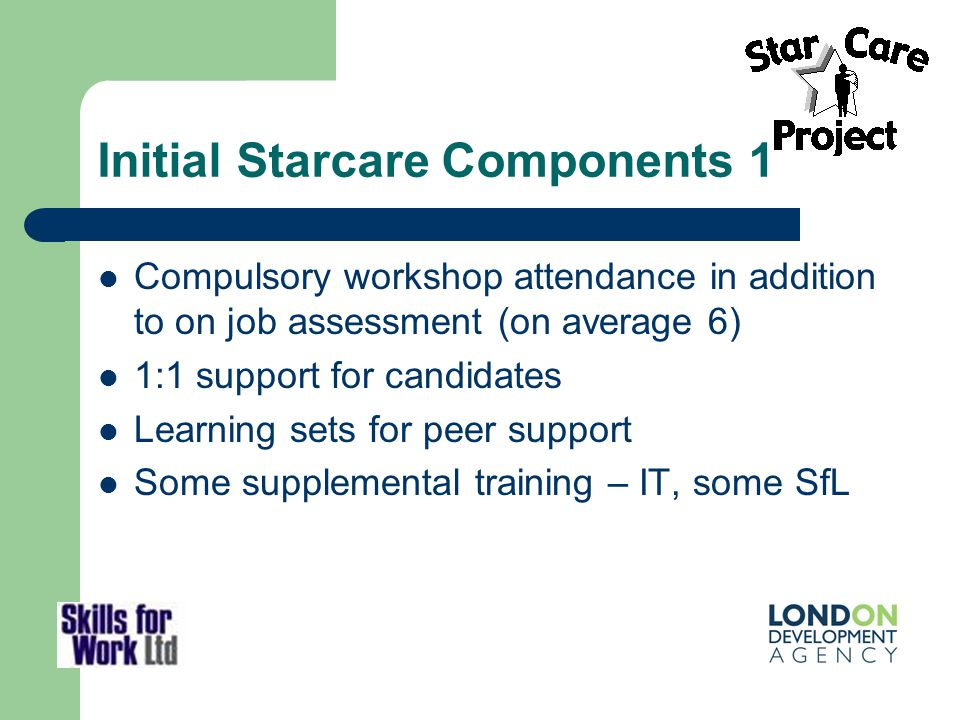 Initial Starcare Components 1 Compulsory workshop attendance in addition to on job assessment (on average 6) 1:1 support for candidates Learning sets