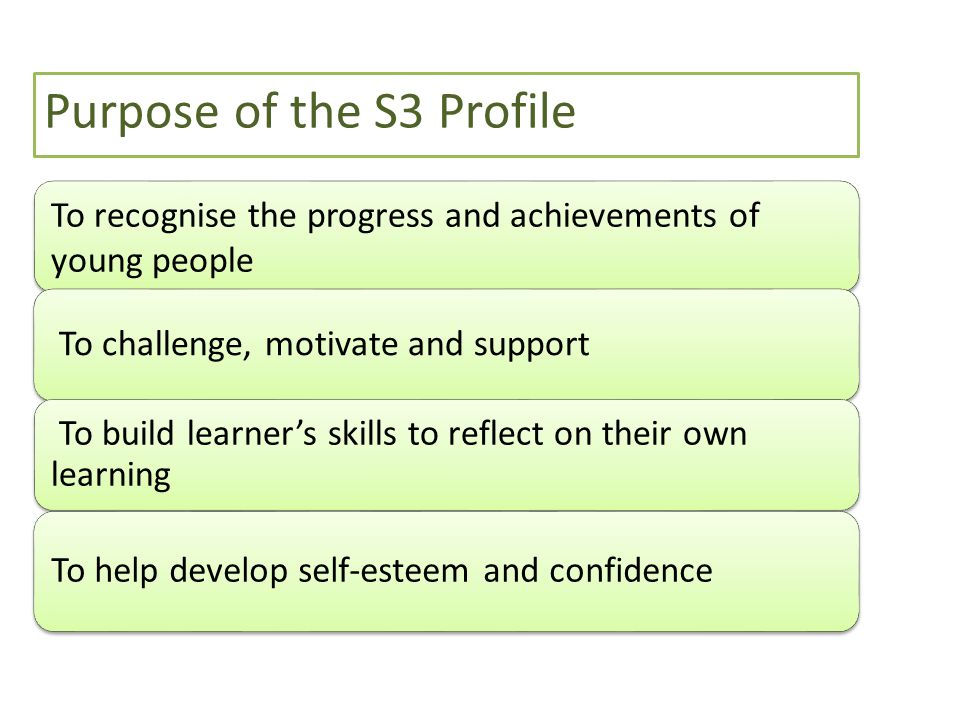 To recognise the progress and achievements of young people To challenge, motivate and support To build learner's skills to reflect on their own learni