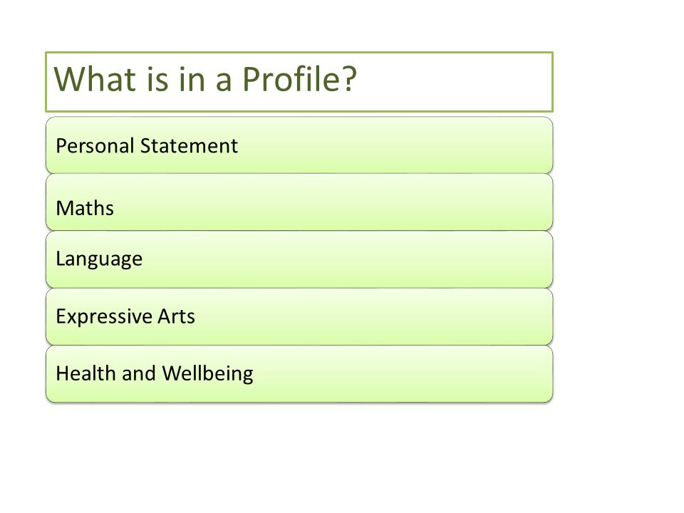 Personal Statement Maths LanguageExpressive ArtsHealth and Wellbeing What is in a Profile?