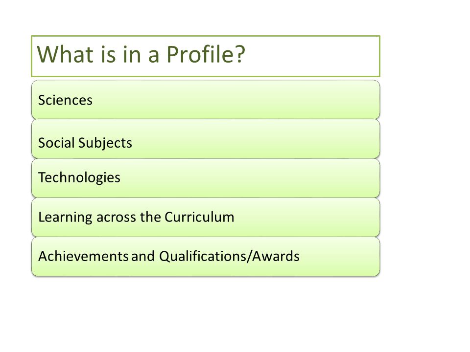 Sciences Social Subjects TechnologiesLearning across the CurriculumAchievements and Qualifications/Awards What is in a Profile