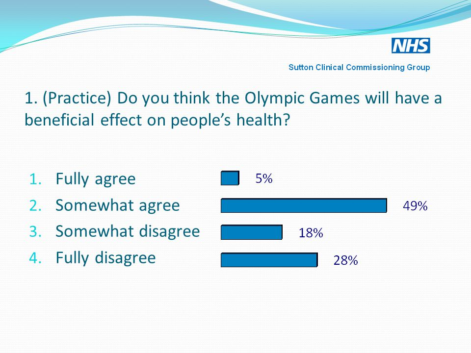 1.(Practice) Do you think the Olympic Games will have a beneficial effect on people's health.