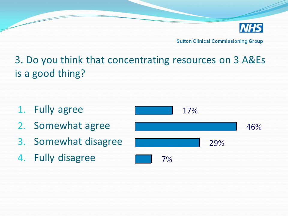 3. Do you think that concentrating resources on 3 A&Es is a good thing.