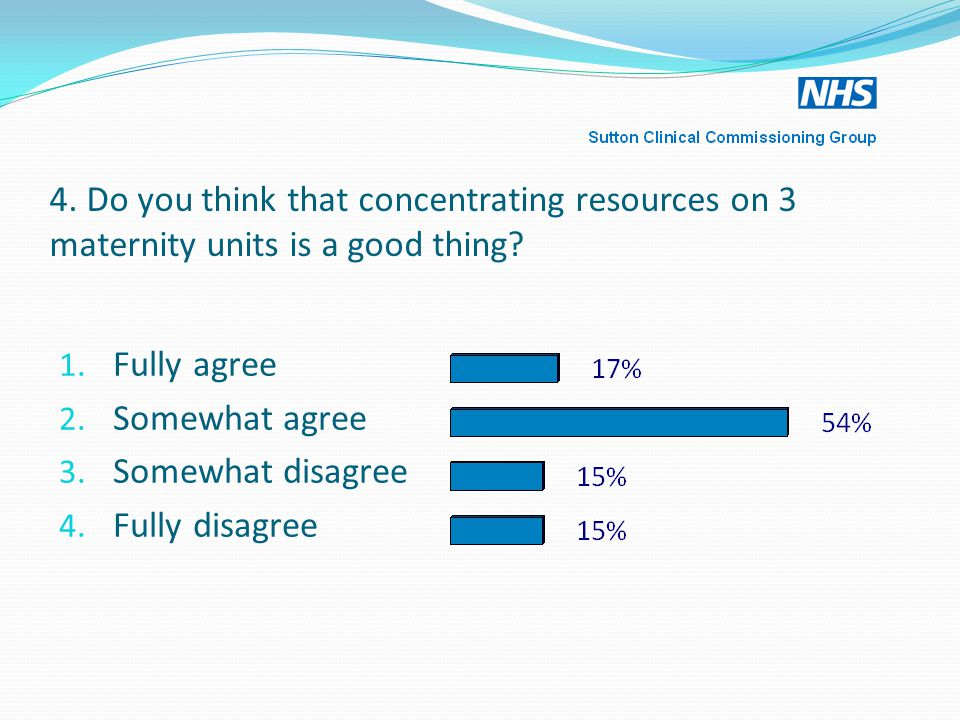 4.Do you think that concentrating resources on 3 maternity units is a good thing.