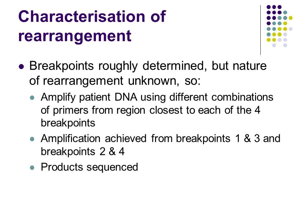 Characterisation of rearrangement Breakpoints roughly determined, but nature of rearrangement unknown, so: Amplify patient DNA using different combinations of primers from region closest to each of the 4 breakpoints Amplification achieved from breakpoints 1 & 3 and breakpoints 2 & 4 Products sequenced