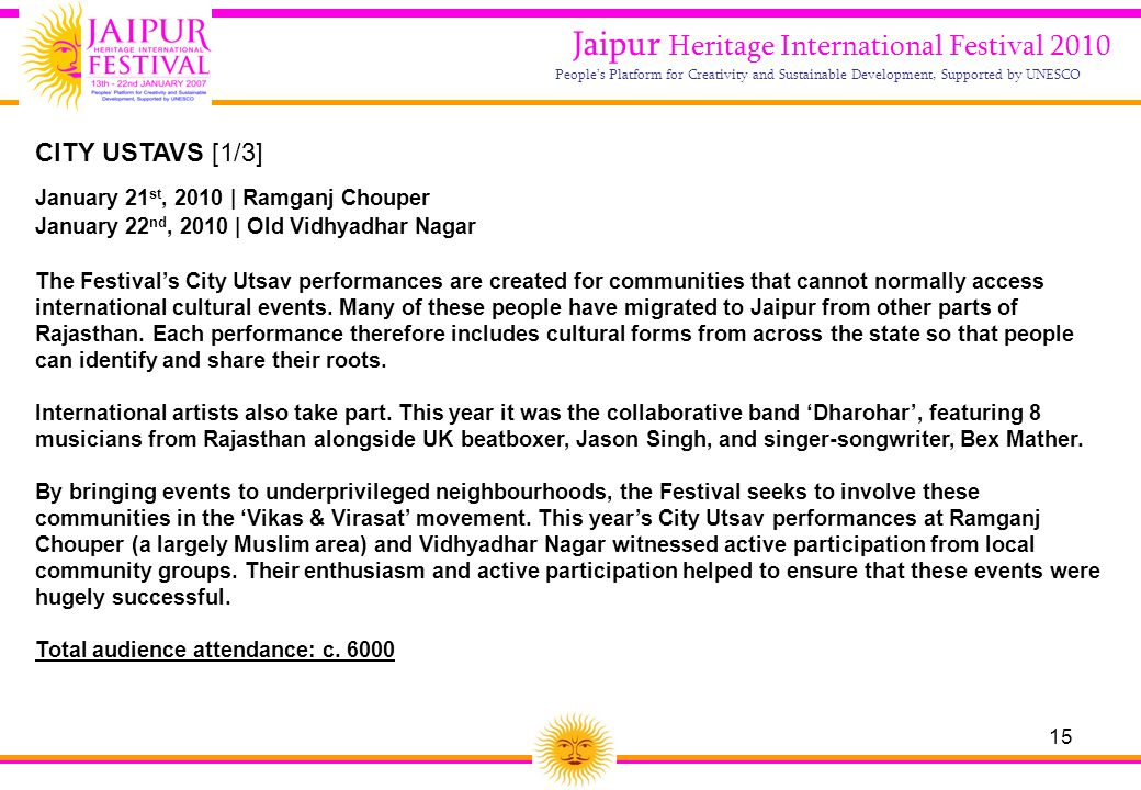 15 Jaipur Heritage International Festival 2010 People's Platform for Creativity and Sustainable Development, Supported by UNESCO CITY USTAVS [1/3] Jan