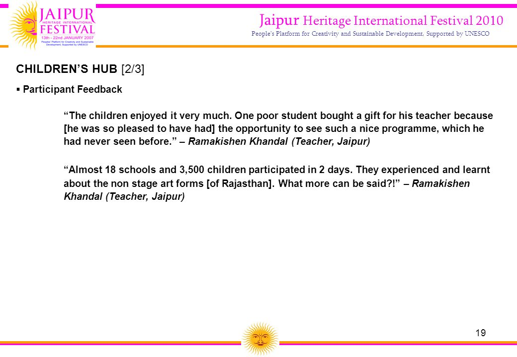 19 Jaipur Heritage International Festival 2010 People's Platform for Creativity and Sustainable Development, Supported by UNESCO CHILDREN'S HUB [2/3]