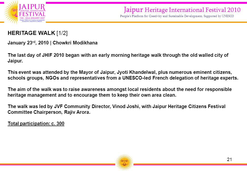 21 Jaipur Heritage International Festival 2010 People's Platform for Creativity and Sustainable Development, Supported by UNESCO HERITAGE WALK [1/2] J