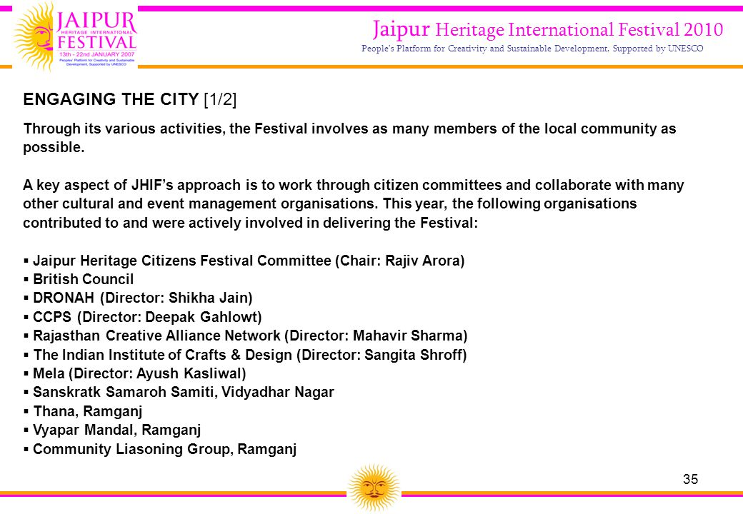 35 Jaipur Heritage International Festival 2010 People's Platform for Creativity and Sustainable Development, Supported by UNESCO ENGAGING THE CITY [1/