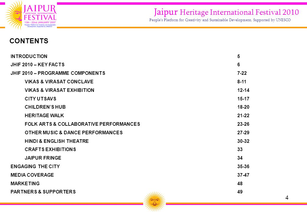 4 Jaipur Heritage International Festival 2010 People's Platform for Creativity and Sustainable Development, Supported by UNESCO INTRODUCTION5 JHIF 201
