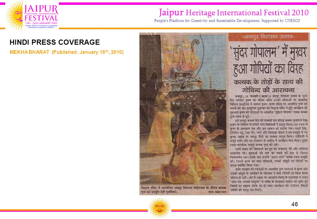 46 Jaipur Heritage International Festival 2010 People's Platform for Creativity and Sustainable Development, Supported by UNESCO MEKHA BHARAT (Publish
