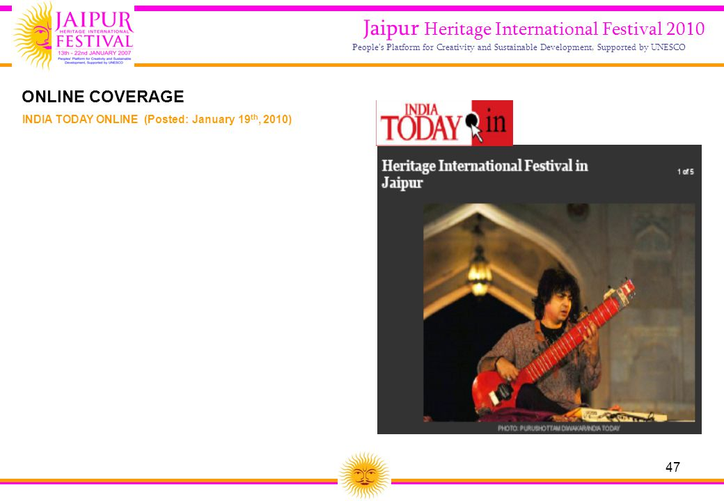 47 Jaipur Heritage International Festival 2010 People's Platform for Creativity and Sustainable Development, Supported by UNESCO INDIA TODAY ONLINE (P